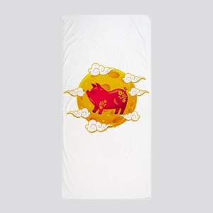 Chinese New Year 2019 Year of the Pig Beach Towel