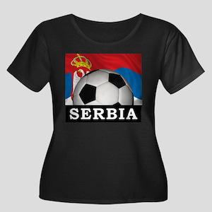 Football Serbia Women's Plus Size Scoop Neck Dark