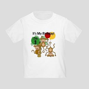 Monkey 3rd Birthday Toddler T-Shirt