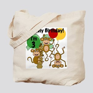 Monkey 3rd Birthday Tote Bag