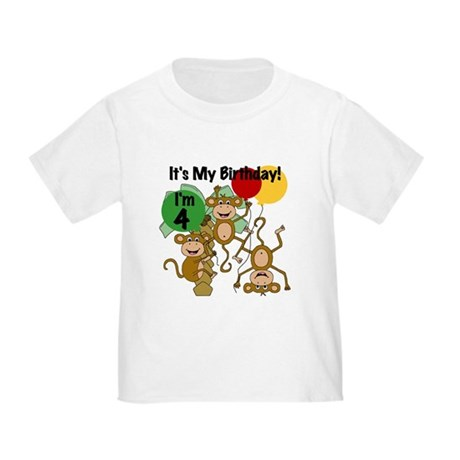 Monkey 4th Birthday Toddler T-Shirt