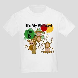 Monkey 6th Birthday Kids Light T-Shirt