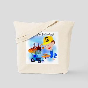 Construction 5th Birthday Tote Bag