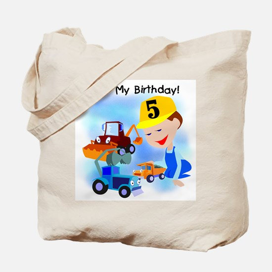 Construction 5th Birthday Tote Bag