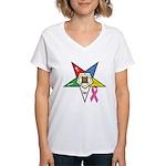 Teardrop OES BC Awareness Women's V-Neck T-Shirt