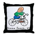 Ocean Beach, NY Throw Pillow