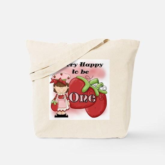 (Brunette) Berry 1st Birthday Tote Bag