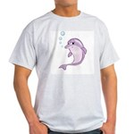 Cute Purple Dolphin With Bubbles Light T-Shirt
