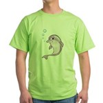 Cute Purple Dolphin With Bubbles Green T-Shirt