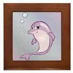 Cute Purple Dolphin With Bubbles Framed Tile