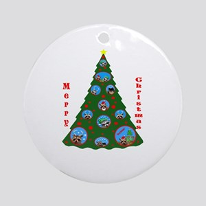 Raccoon and Pomeranian Ornament (Round)