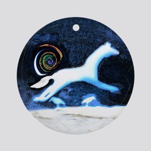 white horse with birds  Ornament (Round)