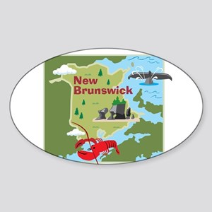 New Brunswick Map Oval Sticker