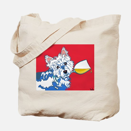 White Wine Westie Tote Bag