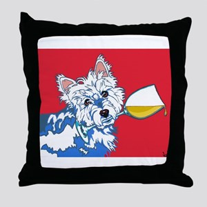 White Wine Westie Throw Pillow