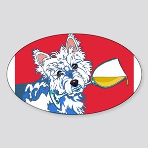 White Wine Westie Oval Sticker