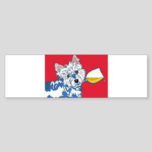 White Wine Westie Bumper Sticker