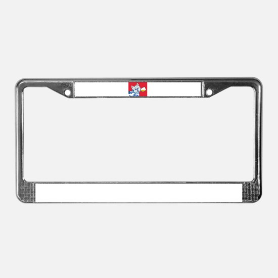 White Wine Westie License Plate Frame