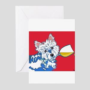 White Wine Westie Greeting Cards (Pk of 20)