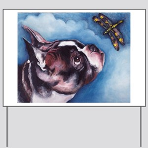 Boston Terrier and Dragonfly Yard Sign