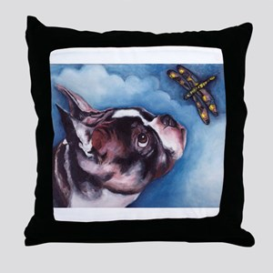 Boston Terrier and Dragonfly Throw Pillow