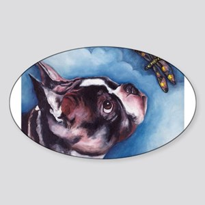 Boston Terrier and Dragonfly Oval Sticker