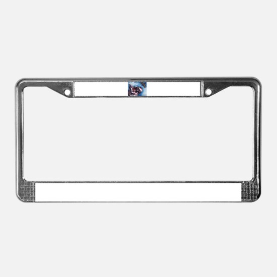 Boston Terrier and Dragonfly License Plate Frame