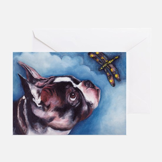 Boston Terrier and Dragonfly Greeting Cards (Pk of