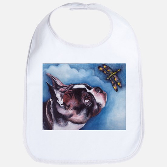 Boston Terrier and Dragonfly Bib