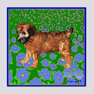 PUPPY IN GARDEN Tile Coaster