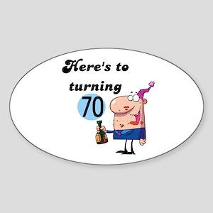 70th Birthday Oval Sticker