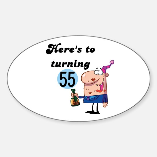 55th Birthday Oval Decal