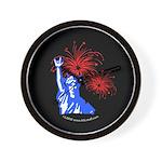 ILY Fireworks Liberty Night Wall Clock