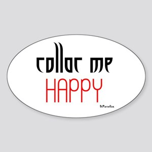 Collar Me Happy (red) Oval Sticker