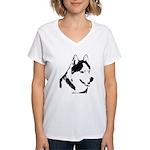 Siberian Husky Sled Dog Women's V-Neck T-Shirt
