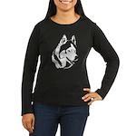 Siberian Husky Sled Dog Women's Long Sleeve Dark T