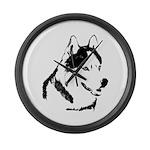 Siberian Husky Sled Dog Large Wall Clock