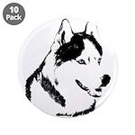 "Siberian Husky Sled Dog 3.5"" Button (10 pack)"
