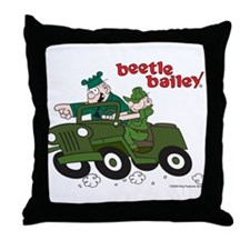 Beetle and Sarge in Jeep Throw Pillow