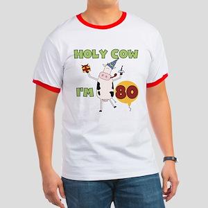 Cow 80th Birthday Ringer T