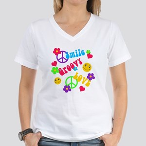 Smile Groovy Love Peace Women's V-Neck T-Shirt