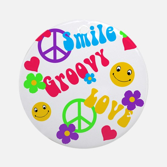 Smile Groovy Love Peace Ornament (Round)