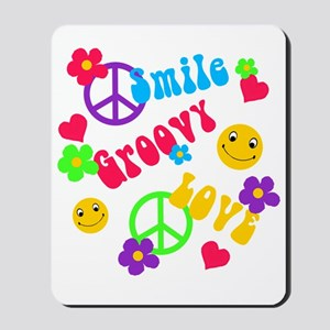 Smile Groovy Love Peace Mousepad