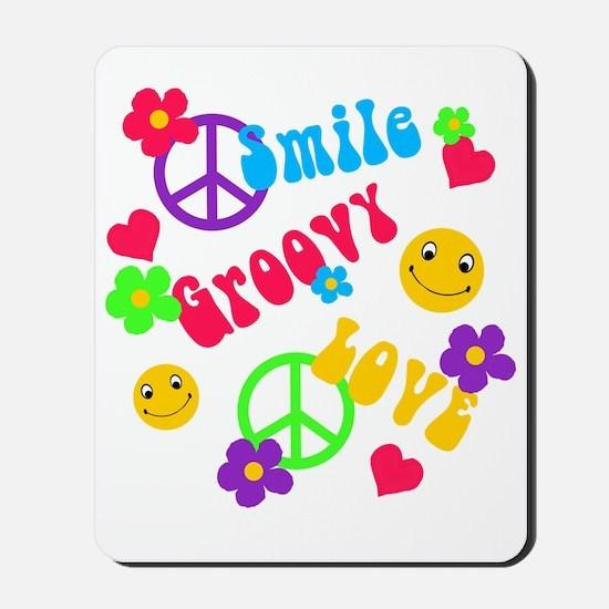 Smile Groovy Love Peace Mousepad