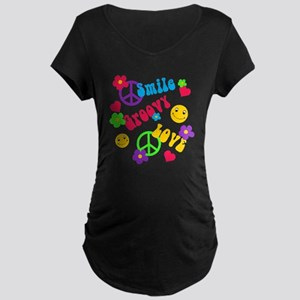 Smile Groovy Love Peace Maternity Dark T-Shirt