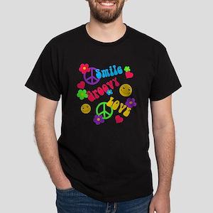 Smile Groovy Love Peace Dark T-Shirt