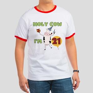 Cow 21st Birthday Ringer T