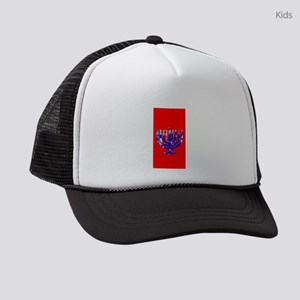 Red Vibrant Menorah Hanukkah 4Jos Kids Trucker hat
