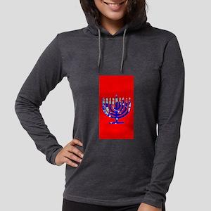 Red Vibrant Menorah Hanukkah 4 Long Sleeve T-Shirt