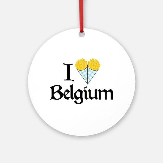 I Love Belgium (Fries) Ornament (Round)